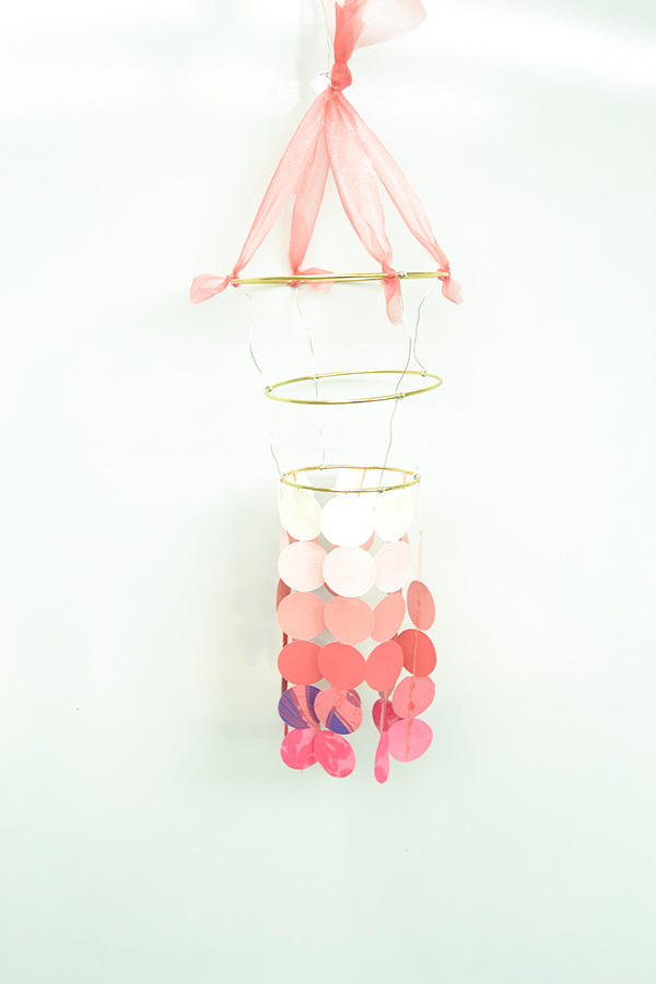 DIY paper chandelier craft kit step 10