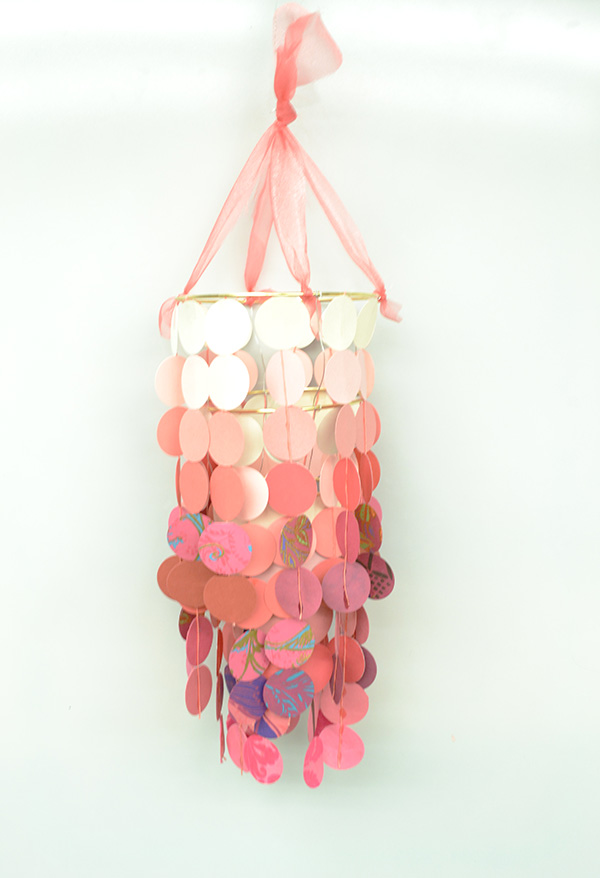 DIY paper chandelier craft kit step 12
